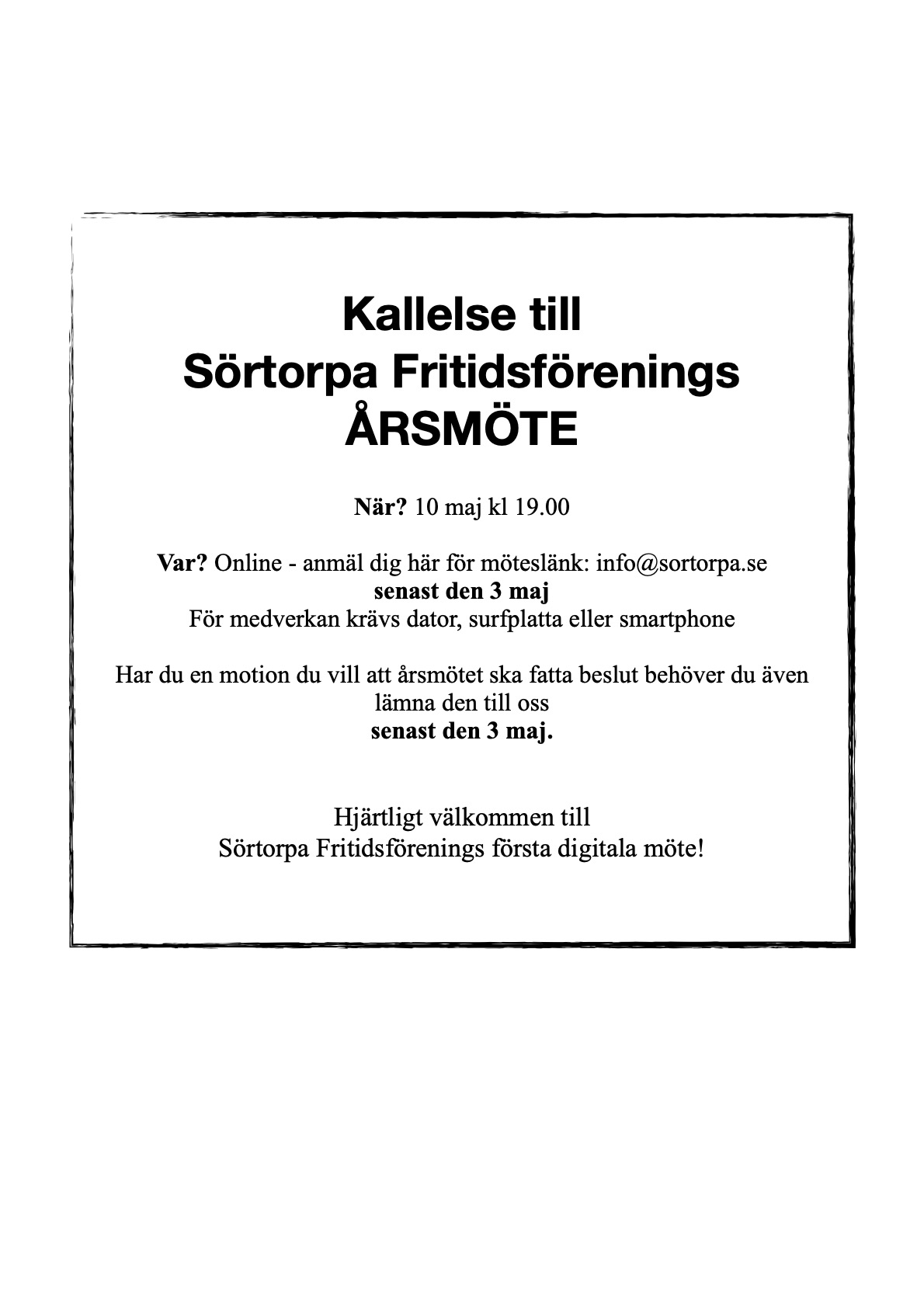 Kallelse Årsmöte Sörtorpa